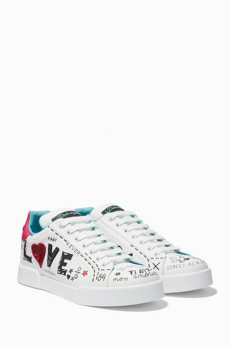 White Love-Embellished Portofino Sneakers