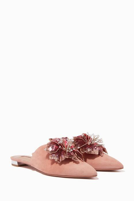 French-Rose Suede Disco Flower Mules