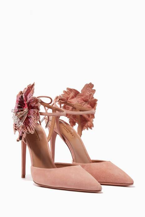 French-Rose Suede Disco Flower Pumps