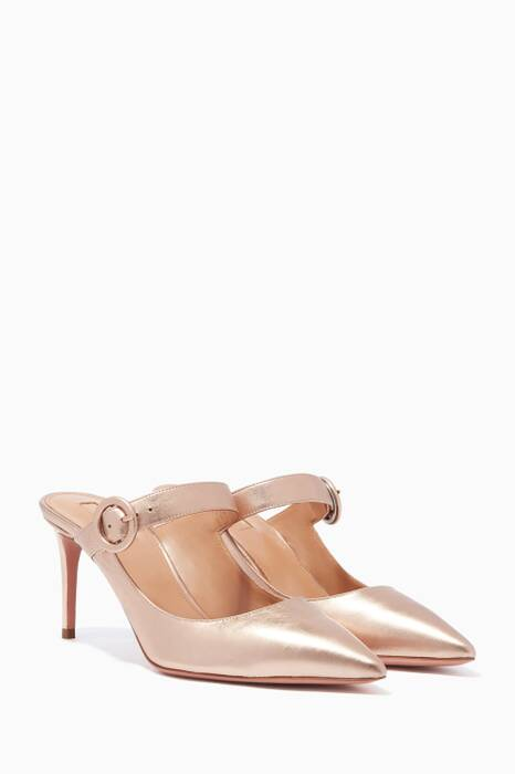 Gold Blossom Point-Toe Mules
