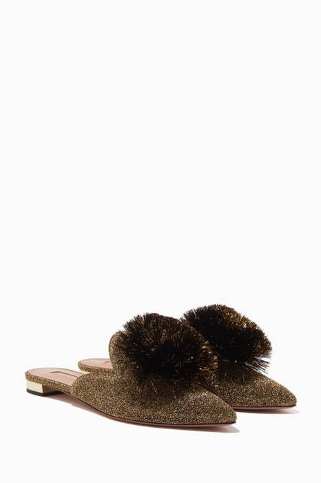 Gold Lurex Powder Puff Slippers