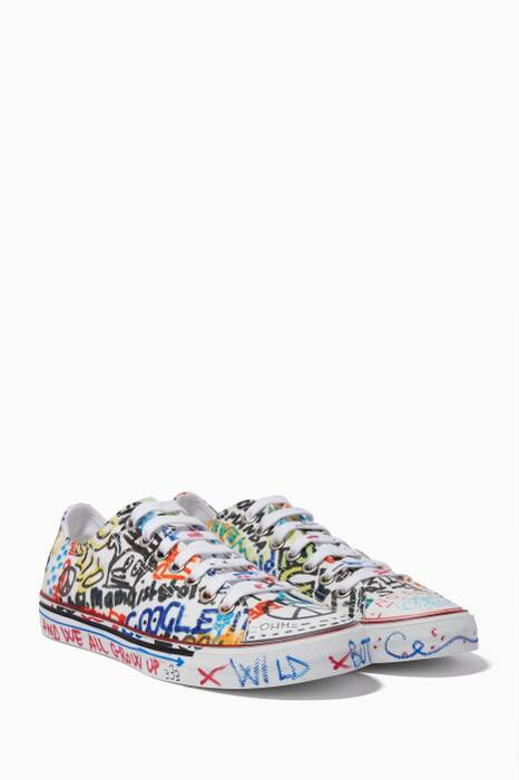White Graffiti Low-Top Sneakers