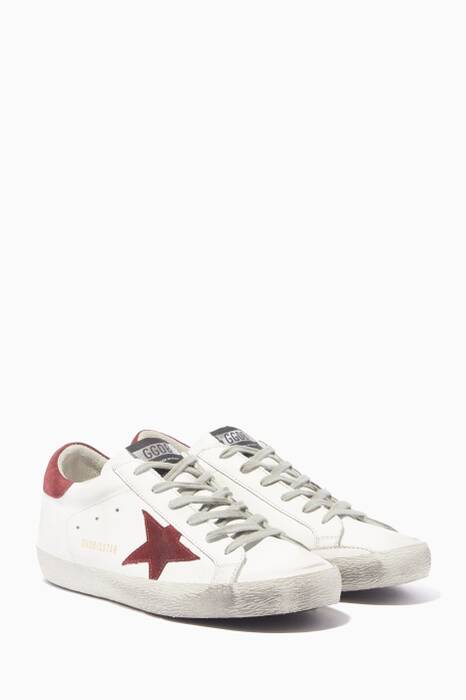 White & Burgundy Superstar Sneakers