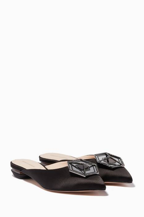 Black Eden Satin Jewelled Mules