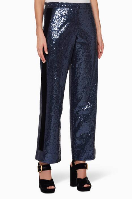 Navy Johansen Sequin Pants
