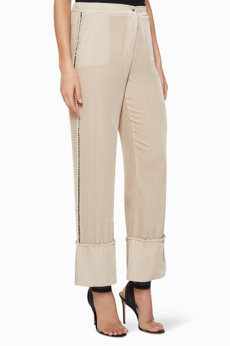 Light-Beige Pearl-Embellished Rue Velvet Pants