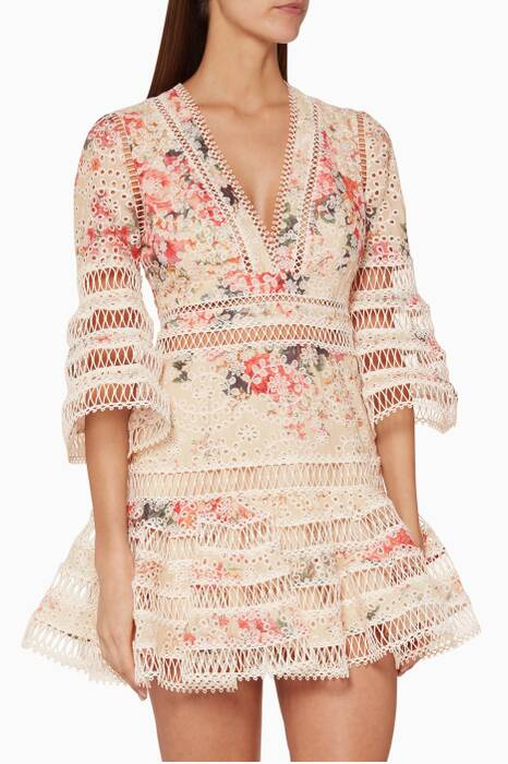 Meadow Floral-Print Laelia Diamond Flutter Dress