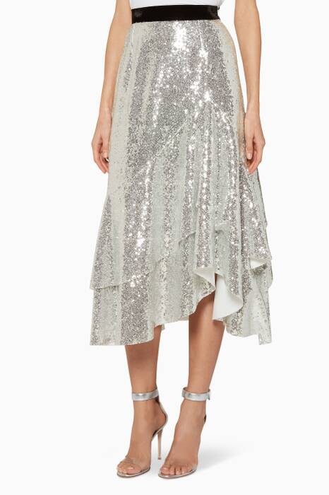 Silver Sequined Bony Asymmetrical Midi Skirt
