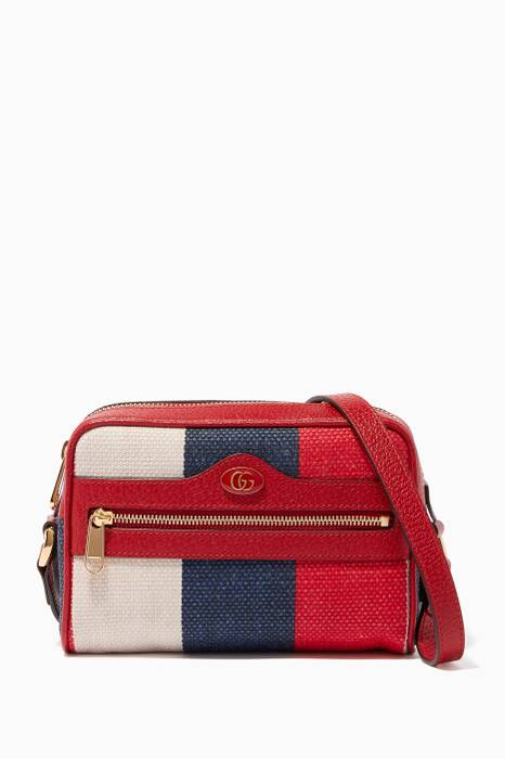Red Mini Ophidia Striped Canvas Shoulder Bag