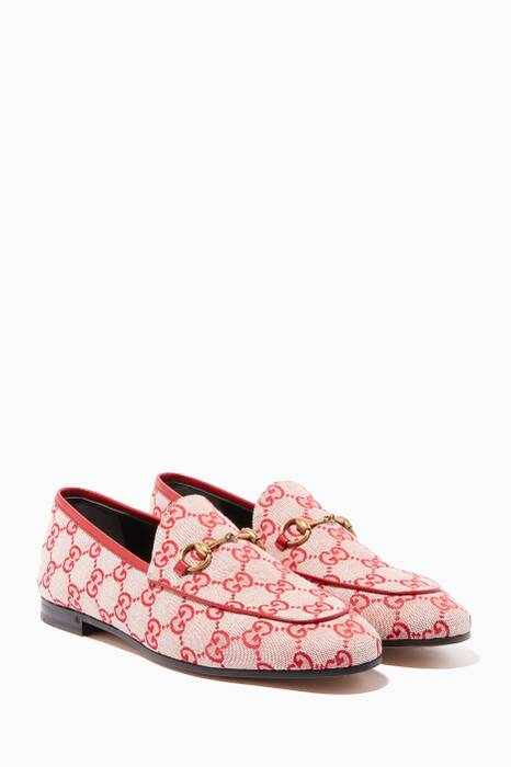 Hibiscus-Red & Beige Jordaan Canvas GG Loafers