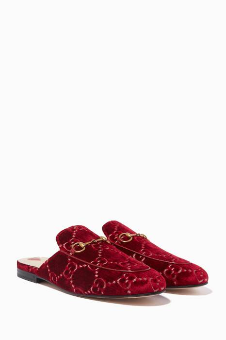 Red Princetown Velvet GG Loafers