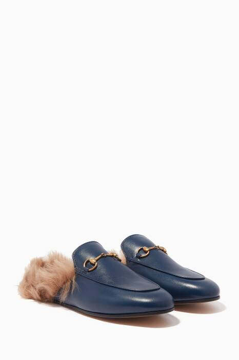 Dark-Blue Leather & Lamb-Lined Princetown Loafers