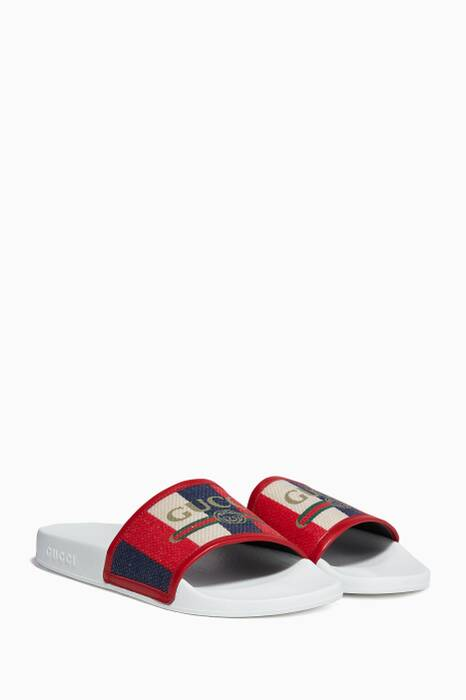 Red Logo Striped Sylvie Slide Sandals