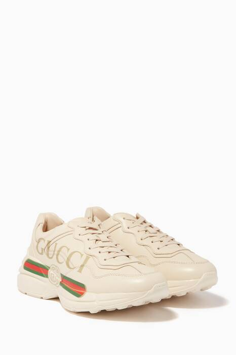Ivory Rhyton Gucci logo leather Sneakers