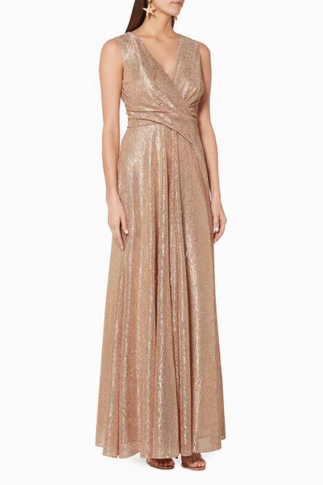 Rose-Gold Plise Pleated Gown