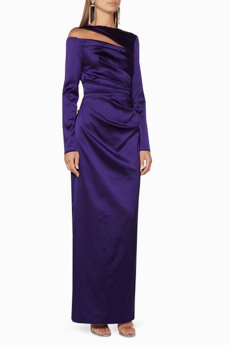 Purple Long Sleeve Cut-Out Gown