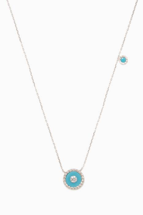 White-Gold, Diamond & Turquoise Coco Necklace