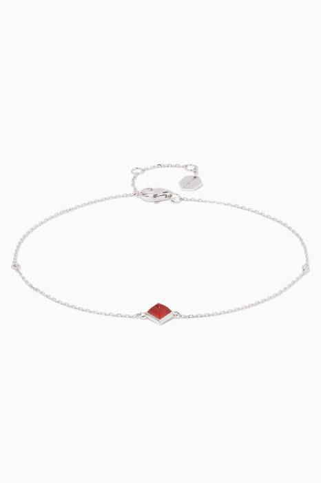 White-Gold, Diamond & Red Agate Cleo Anklet