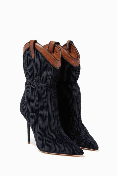 Navy Ruched Daisy Boots