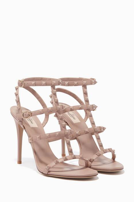 Light-Beige Rockstud Cage Leather Sandals