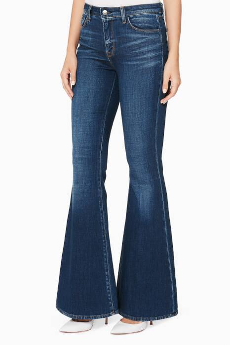Dark-Blue Solana Flared-Leg Jeans