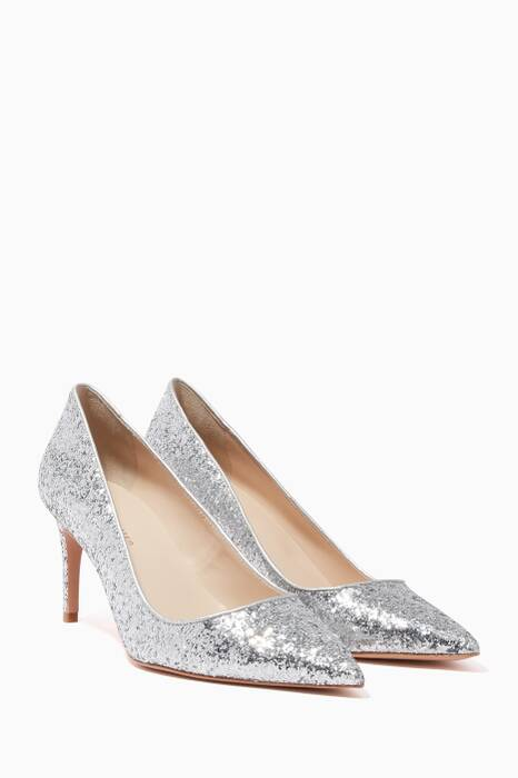 Silver Glitter Rio Point-Toe Pumps