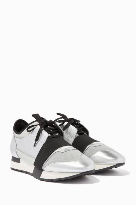 Silver & Black Race Runner Low-Top Sneakers