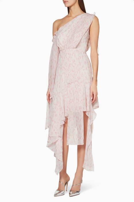 Light-Pink Aurora Draped Pleated Dress