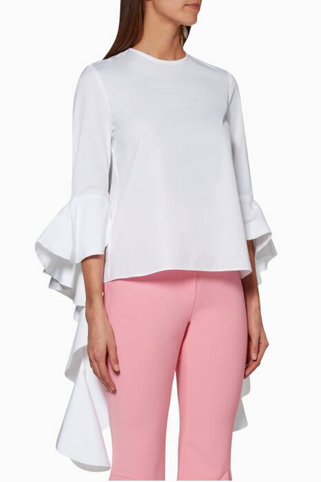 White Emmeline Frill-Sleeve Top