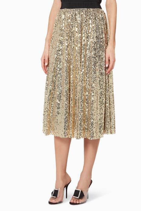 Gold Sequined Tyler Midi Skirt