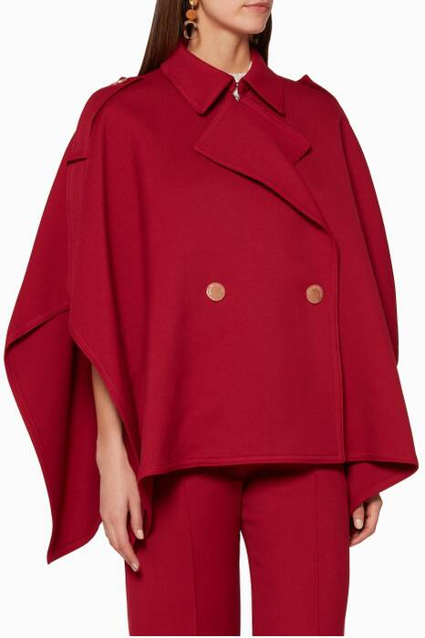 Dusky-Red Trench-Inspired Cape
