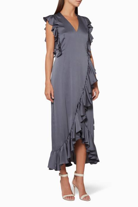 Grey Anna Ruffle Wrap Midi Dress