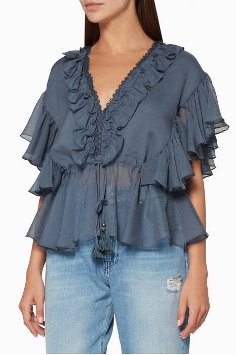 Blue Catherine Frill Drawstring Blouse