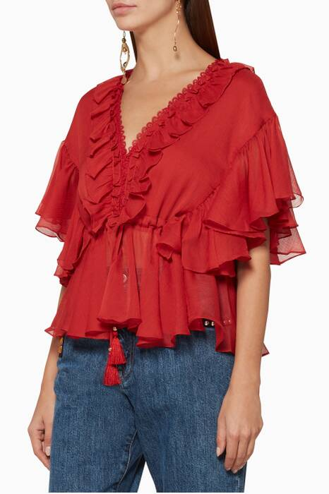 Rosé Catherine Frill Drawstring Blouse