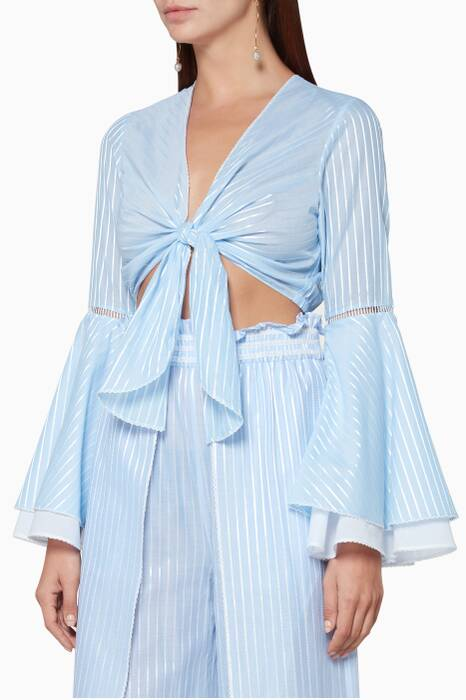 Light-Blue Striped Bell-Sleeve Top