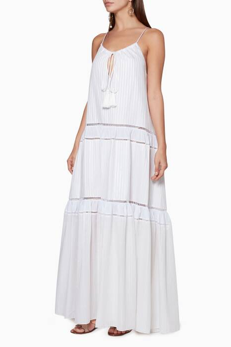 Off-White Striped Sleeveless Maxi Dress