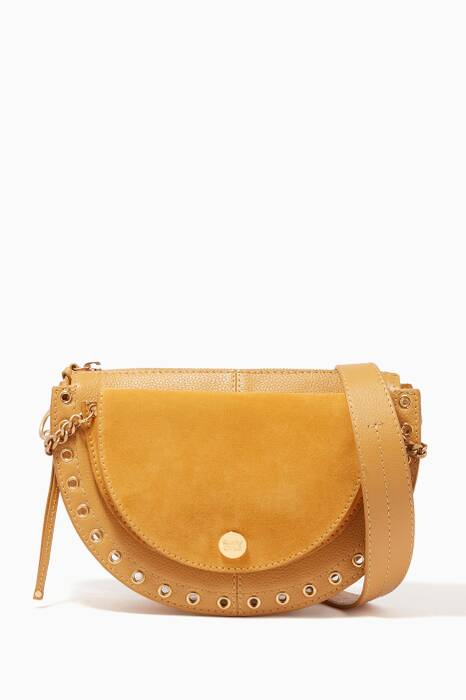 Yellow Kriss Suede & Leather Shoulder Bag