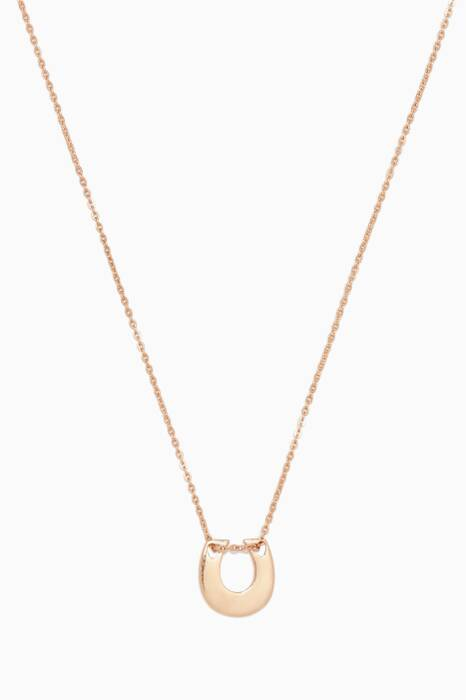 Rose-Gold Little Hearts Horseshoe Necklace