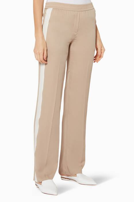 Beige Silk Track Pants
