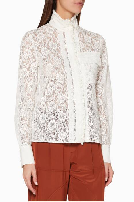 White Lace High-Neck Shirt