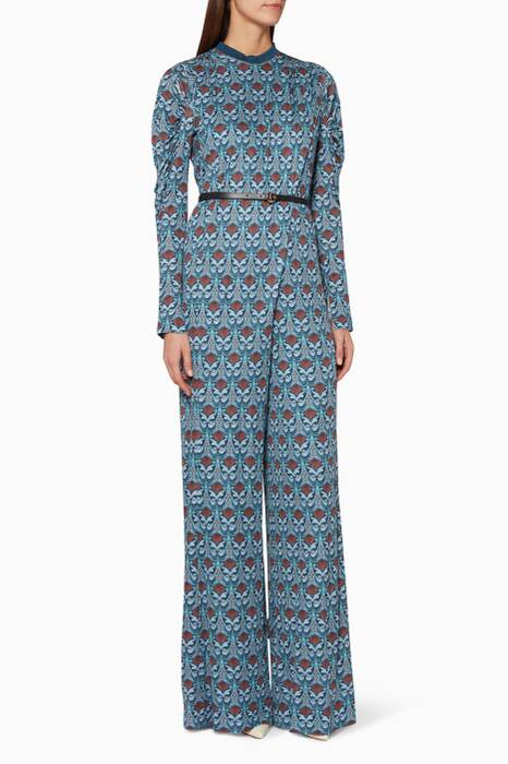 Blue Printed Wide-Leg Jumpsuit