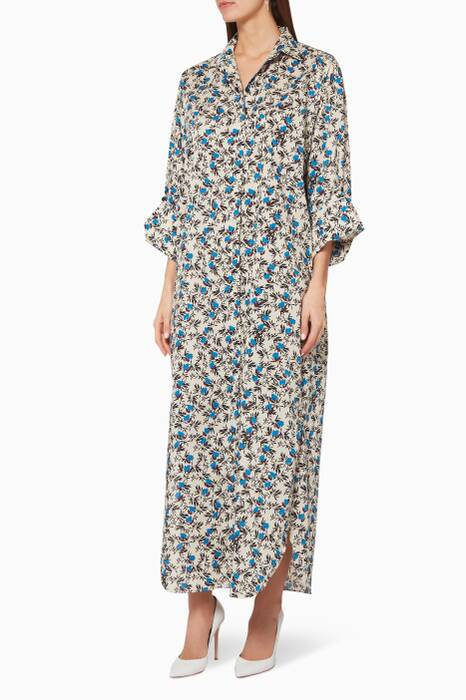 Multi-Colour Floral-Print Midsultry Maxi Dress