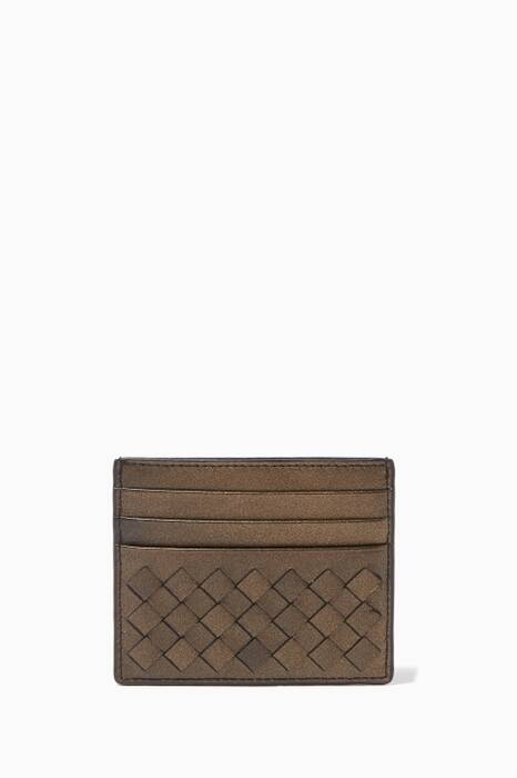 Dark-Gold Intrecciato Card Case
