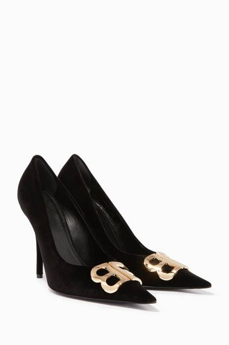 Black BB Velvet Pumps