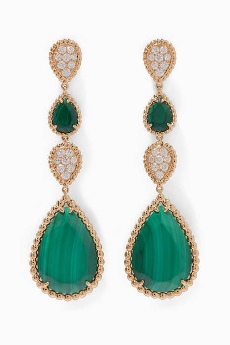 Yellow-Gold & Diamond Serpent Bohème Malachite Drop Earrings