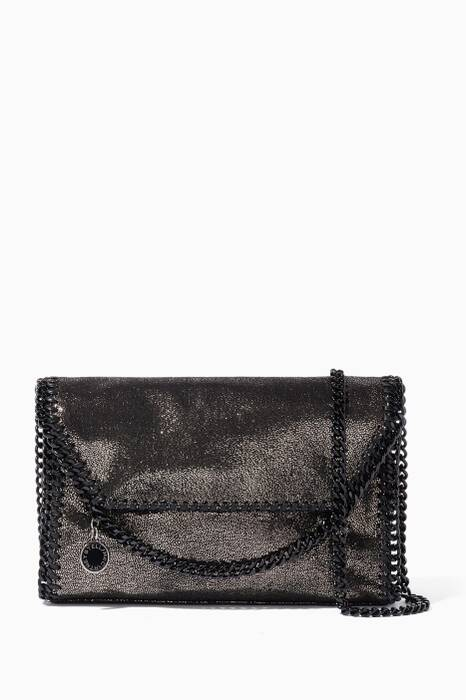 Gunmetal Falabella Shaggy Deer Mini Shoulder Bag