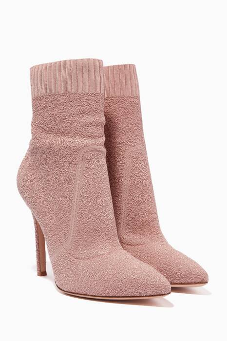 Light-Pink Fiona Knit Bouclé Booties