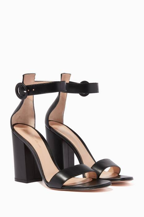 Black Versilia Leather Sandals