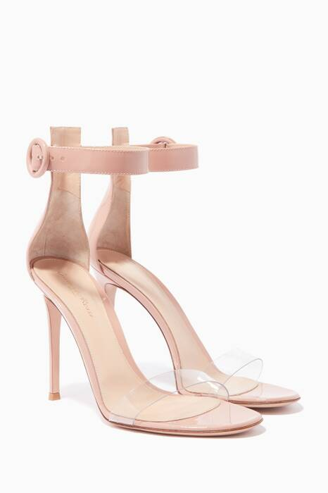 Dahlia-Pink Leather & PVC Portofino Sandals