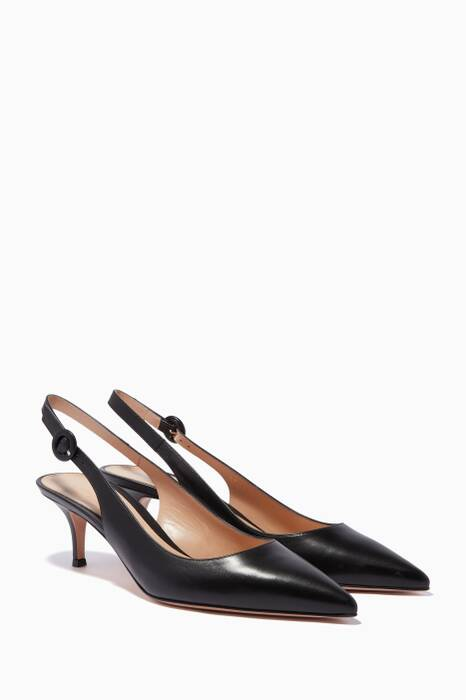 Black Leather Anna Point-Toe Pumps